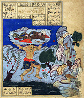 0614153 © Granger - Historical Picture ArchiveIRAN / PERSIA.   The Div Akvan throws Rustam into the sea. From a 16th-17th century Persian Shahnameh. Full credit: Pictures from History / Granger, NYC -- All rights reserved.