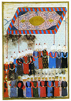 0615083 © Granger - Historical Picture ArchiveTURKEY.   Selim II (r.1566-1574), 11th Emperor of the Ottoman Empire, ascends the throne, the courtiers in attendance (left plate). Miniature painting by Ahmed Feridun Pasha, 1568. Full credit: Pictures from History / Granger, NYC -- All rights reserved.