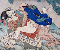0615144 © Granger - Historical Picture ArchiveJAPAN.   'Bound Woman'. A hairy and barbarous bandit forces himself on a woman somewhere in deep forest. Utagawa Kunisada, 'Spring, Summer, Autumn and Winter. Full credit: Pictures from History / Granger, NYC -- All rights reserved.