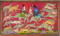 0615198 © Granger - Historical Picture ArchiveINDIA.   Rama, riding on Hanuman, accompanied by Lakshmana, riding on Angada, set out at the head of an army of monkeys to free Sita from Ravana, the demon-king of Lanka. Miniature from the Rana Jagat Singh Ramayana or 'Mewar Ramayana', 17th century. Full credit: Pictures from History / Granger, NYC -- All rights reserved.