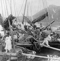 0615708 © Granger - Historical Picture ArchiveKOREA.   Junks laden with sea-weed, a Korean table delicacy - in the harbor of old Busan, early 20th century. Full credit: Pictures from History / Granger, NYC -- All rights reserved.