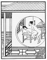 0616035 © Granger - Historical Picture ArchiveLI YU: CARNAL PRAYER MAT, 1894. Woodblock illustration to the 1894 edition of Ròu pútuá or 'The Carnal Prayer Mat', an erotic novel by Qing dynasty author Li Yu (1610-1680). Full credit: Pictures from History - CPA / Granger, NYC. All Rights Reserved.