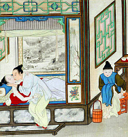 0616037 © Granger - Historical Picture ArchiveCHINA: EROTICA.   Chun hua erotic 'Spring Picture', Qing Dynasty, 19th century, artist unknown. Full Credit: Pictures from History - CPA / Granger, NYC. All Rights Reserved.
