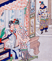 0616039 © Granger - Historical Picture ArchiveCHINA: EROTICA.   Chun hua erotic 'Spring Picture', Qing Dynasty, 19th century, artist unknown. Full Credit: Pictures from History - CPA / Granger, NYC. All Rights Reserved.