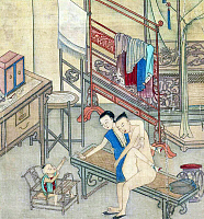 0616043 © Granger - Historical Picture ArchiveCHINA: EROTICA.   Chun hua erotic 'Spring Picture', Qing Dynasty, 19th century, artist unknown. Full Credit: Pictures from History - CPA / Granger, NYC. All Rights Reserved.