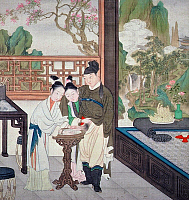 0616134 © Granger - Historical Picture ArchiveCHINA.   Two women wash a man's penis either preparatory to or post sex. Qianlong Era (1735-1796). Full credit: Pictures from History / Granger, NYC -- All rights reserved.