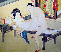 0616196 &copy; Granger - Historical Picture ArchiveCHINA.   <i>chun hua</i> erotic 'Spring Picture', Qing Dynasty, 19th century, artist unknown. Full credit: Pictures from History / Granger, NYC -- All rights reserved.