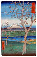 0616342 © Granger - Historical Picture Archive36 VIEWS OF MOUNT FUJI, 1858. Koshigaya in Musashi Province. Image 14 of '36 Views of Mount Fuji.' Vertical series by Utagawa Hiroshige, 1858. Full Credit: Pictures from History - CPA / Granger, NYC. All Rights Reserved.
