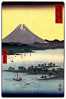 0616427 © Granger - Historical Picture Archive36 VIEWS OF MOUNT FUJI, 1858. The Pine Forest of Miho in Suruga Province. Image 24 of '36 Views of Mount Fuji.' Vertical series by Utagawa Hiroshige, 1858. Full Credit: Pictures from History - CPA / Granger, NYC. All Rights Reserved.