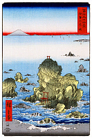 0616430 © Granger - Historical Picture Archive36 VIEWS OF MOUNT FUJI, 1858. Futami Bay in Ise Province. Image 27 of '36 Views of Mount Fuji.' Vertical series by Utagawa Hiroshige, 1858. Full Credit: Pictures from History - CPA / Granger, NYC. All Rights Reserved.