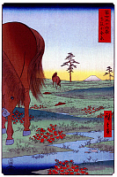 0616471 © Granger - Historical Picture Archive36 VIEWS OF MOUNT FUJI, 1858. Kogane Plain in Shimosa Province. Image 33 of '36 Views of Mount Fuji.' Vertical series by Utagawa Hiroshige, 1858. Full Credit: Pictures from History - CPA / Granger, NYC. All Rights Reserved.