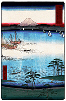 0616473 © Granger - Historical Picture Archive36 VIEWS OF MOUNT FUJI, 1858. Kuroto Bay in Kazusa Province. Image 34 of '36 Views of Mount Fuji.' Vertical series by Utagawa Hiroshige, 1858. Full Credit: Pictures from History - CPA / Granger, NYC. All Rights Reserved.