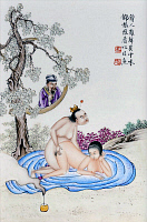 0616484 &copy; Granger - Historical Picture ArchiveCHINA.   <i>chun hua</i> erotic 'Spring Picture', Qing Dynasty, painting on porcelain, Canton (Guangzhou), late 19th century. Full credit: Pictures from History / Granger, NYC -- All rights reserved.