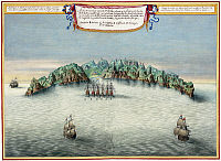 0616534 © Granger - Historical Picture ArchiveST. HELENA.   'A View of the Island of St Helena showing the Dutch Fleet'. Atlas Blaeu, Laurens Van der Hem, c. 1665. Full credit: Pictures from History / Granger, NYC -- All rights reserved.