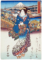 0617157 © Granger - Historical Picture ArchiveJAPAN.   A courtesan beside the Nihonbashi Bridge, Edo, with Mount Fuji in the distance. Keisai Eisen (1790-1848), 1830. Full credit: Pictures from History / Granger, NYC -- All rights reserved.