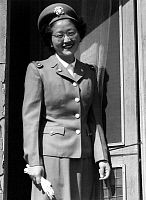 0617433 © Granger - Historical Picture ArchiveUSA / JAPAN.   Japanese-American U.S. Naval cadet nurse, Kay Fukuda. Manzanar Japanese American Internment Camp, Ansel Adams, 1943. Full credit: Pictures from History / Granger, NYC -- All rights reserved.