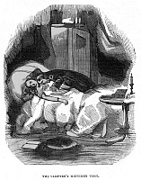 0617448 © Granger - Historical Picture ArchiveENGLAND / UK.   'The Vampyre's Midnight Visit'. From 'Varney the Vampire or the Feast of Blood'. Jamese Malcolm Rymer, London, c. 1840. Full credit: Pictures from History / Granger, NYC -- All rights reserved.
