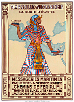 0617860 © Granger - Historical Picture ArchiveFRANCE / EGYPT.   Advertising poster for 'Marseille-Alexandrie - La Route d'Egypte' (Marseilles to Alexandria - the Way to Egypt'. Messageries Maritimes and Chemins de Fer PLM. J. Daviel, Paris, 1927. Full credit: Pictures from History / Granger, NYC -- All rights reserved.