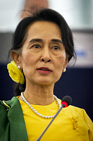 0618286 © Granger - Historical Picture ArchiveBURMA / MYANMAR.   Daw Aung San Suu Kyi (1945- ), Burmese politician, democrat and opposition leader.. Full credit: Pictures from History / Granger, NYC -- All rights reserved.