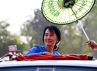 0618287 © Granger - Historical Picture ArchiveBURMA / MYANMAR.   Daw Aung San Suu Kyi (1945- ), Burmese politician, democrat and opposition leader. During 2012 by-election campaign at her constituency Kawhmu township, Myanmar on 22 March 2012. Full credit: Pictures from History / Granger, NYC -- All rights reserved.