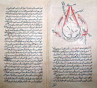 0618475 &copy; Granger - Historical Picture ArchiveIRAN / PERSIA.   Anatomical drawing of a human eye by Kamal al-Din Hasan ibn Ali ibn Hasan al-Farisi (1267-1369 CE), <i>Tanqih al-Manazir</i> ('The Revision of Optics') after Ibn al-Haytham, Cairo, 1309. Full credit: Pictures from History / Granger, NYC -- All rights reserved.