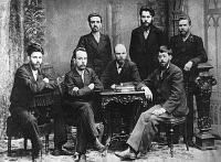 0618637 © Granger - Historical Picture ArchiveRUSSIA.   Julius Martov (1873-1923), Russian politician and leader of the Menshevik Faction (seated, right). St Petersburg, 1897. Full credit: Pictures from History / Granger, NYC -- All rights reserved.