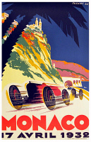 0619001 © Granger - Historical Picture ArchiveMONACO.   Vintage travel poster advertising the Grand Prix in Monte Carlo, Monaco, 1932. Full credit: Pictures from History / Granger, NYC.