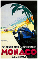 0619004 © Granger - Historical Picture ArchiveMONACO.   Vintage travel poster advertising the Grand Prix in Monte Carlo, Monaco, 1933. Full credit: Pictures from History / Granger, NYC.