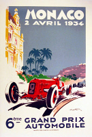 0619005 © Granger - Historical Picture ArchiveMONACO.   Vintage travel poster advertising the Grand Prix in Monte Carlo, Monaco, 1934. Full credit: Pictures from History / Granger, NYC.