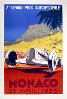 0619006 © Granger - Historical Picture ArchiveMONACO.   Vintage travel poster advertising the Grand Prix in Monte Carlo, Monaco, 1935. Full credit: Pictures from History / Granger, NYC.