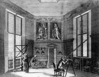 0619113 © Granger - Historical Picture ArchiveENGLAND.    Prospectus Intra Camera Stellata ('Prospect within the Star Chamber'), observing the stars at the Royal Observatory, Greenwich, London. Etching by Francis Place, 1676. Full credit: Pictures from History / Granger, NYC.