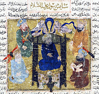 0619224 © Granger - Historical Picture ArchiveARAB.   The Prophet Muhammad enthroned, surmounted by angels, and surrounded by his companions, Firdawsi, Shahnama (Book of Kings), probably Shiraz, Iran, early 14th century. Full credit: Pictures from History / Granger, NYC.