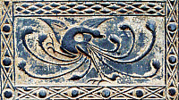 0619410 © Granger - Historical Picture ArchiveCHINA.   Detail of a Han-dynasty (206 BCE-220 CE) pottery tile emblematically representing the Vermilion Bird of the South, Musee Cernuschi, Paris. Full credit: Pictures from History / Granger, NYC.