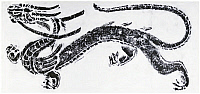 0619417 © Granger - Historical Picture ArchiveCHINA.   Rubbing of the Azure Dragon of the East from the tomb of Wang Hui, Lushan, Sichuan, 212 CE. Full credit: Pictures from History / Granger, NYC.