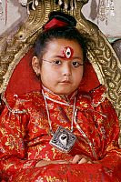 0620528 © Granger - Historical Picture ArchiveNEPAL.   The Kumari or 'Living Goddess', Patan, Kathmandu Valley (1998). Full Credit: CPA Media - Pictures from History / Granger, NYC.