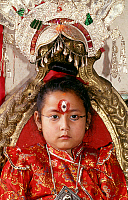 0620782 © Granger - Historical Picture ArchiveNEPAL.   The Kumari or 'Living Goddess', Patan, Kathmandu Valley (1998). Full Credit: CPA Media - Pictures from History / Granger, NYC.