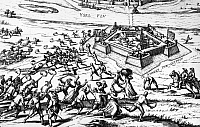 0124420 © Granger - Historical Picture Archive80 YEARS WAR, 1591.   The Spanish held city of Zutphen, the Netherlands, is retaken by Dutch forces  under the Prince of Orange in 1591. Contemporary line engraving, the Netherlands.