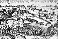 0124421 © Granger - Historical Picture Archive80 YEARS WAR, 1572.   Spanish troops, led by the Duke of Alba, attacking the Dutch town of Brielle, which had been captured by Protestant rebels, the Sea Beggars, on 1 April 1572. Line engrraving by Franz Hogenburg, 1590.