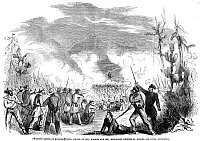 0044949 © Granger - Historical Picture ArchiveBATTLE OF QUARISMA, 1857.   'Brilliant Battle of Quarisma (Lent), fought by General William Walker and General Henningsen between St. George and Rivas, Nicaragua,' March 1857. Contemporary American wood engraving.
