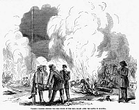 0044950 © Granger - Historical Picture ArchiveBATTLE OF QUARISMA, 1857.   'Walker's soldiers burning the dead bodies of the Costa Ricans after the Battle of Quarisma,' March 1857. Contemporary American wood engraving.