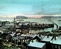 0433024 © Granger - Historical Picture ArchiveTRIP TO NORWAY.   Norway, the town of Hammerfest, image date: circa 1920. Carl Simon Archive. Full credit: United Archives / Granger, NYC -- All rights reserved.