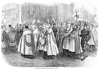 0045007 © Granger - Historical Picture Archive1st VATICAN COUNCIL, 1869.   The procession of the Bishops entering the Council Chamber of the First Vatican Council at Rome, Italy, convened by Pope Pius IX, 8 December 1869. Contemporary wood engraving.