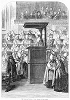 0045008 © Granger - Historical Picture Archive1st VATICAN COUNCIL, 1869.   Reading out the decrees in the Papal Great Chamber of the First Vatican Council at Rome, convened by Pope Pius IX, 8 December 1869. Contemporary wood engraving.