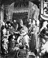 0078857 © Granger - Historical Picture ArchivePOPE EUGENIUS IV (1431-47).   Pope Eugenius IV commissioning Rannuccio Farnese as military defender of the Papal States. Detail from a fresco by Francesco Salviati in the Palazzo Farnese.