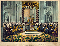 0259113 © Granger - Historical Picture ArchiveFIRST VATICAN COUNCIL, 1869.   'The oecumenical council of the Vatican, convened December 8th 1869.' Lithograph, c1870.