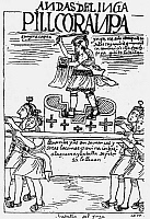 0038004 © Granger - Historical Picture ArchiveINCA WARRIOR.   An Inca warrior being carried in to battle on a litter. Drawing from 'El primer nueva cronica y buen gobierno' [The first new chronicle and good government], 1583-1615, by Felipe Guaman de Ayala.