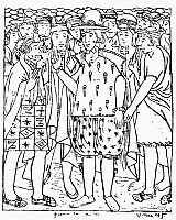 0118135 © Granger - Historical Picture ArchiveFELIPE GUAMAN POMA DE AYALA   (c1535-c1616). Indigenous noble Peruvian author and chronicler. Guaman Poma in Spanish dress being greeted by native Peruvians. Drawing from his 'El primer nueva cronica y buen gobierno' ('The First New Chronicle and Good Government'), 1583-1615.