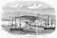 0268113 © Granger - Historical Picture ArchivePERU: CIVIL UNREST, 1857.   The harbor of Islay, Peru, the headquarters of General Viranco during a dispute in 1856. Contemporary English wood engraving.