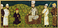 0103019 © Granger - Historical Picture ArchivePERSIA: MYTHICAL KING.   Kayumars (Gayomart), the world's first man in the Zoroastrian creation myth, and the first king of the world in Firdausi's 'Shahnama' (Book of Kings). Persian miniature from a 15th century manuscript.
