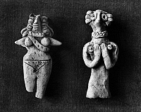 0167645 © Granger - Historical Picture ArchiveIRAN: GODDESS FIGURES.   Terracotta fertility goddess idols, one with a bird's head (right). Elamite, from Susa, Iran, 3rd millennium B.C.